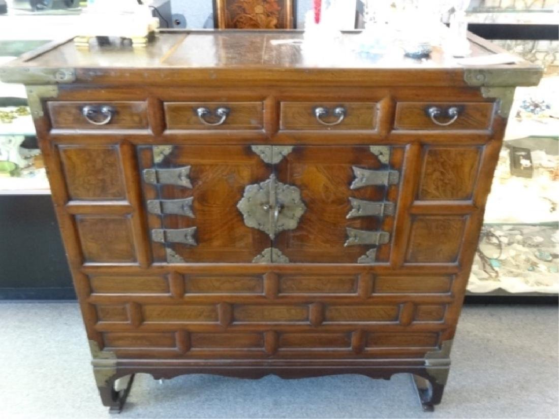 VINTAGE KOREAN WOOD AND METAL CHEST, 4 DRAWERS ABOVE 2