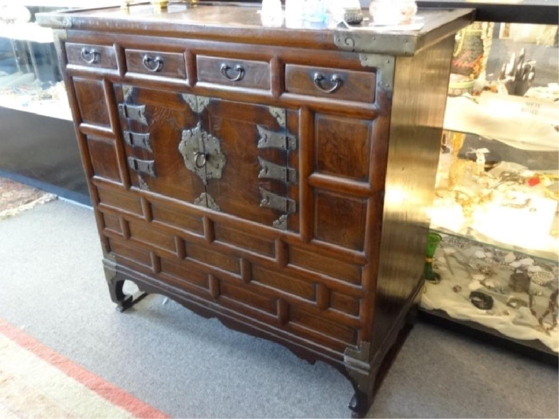 VINTAGE KOREAN WOOD AND METAL CHEST, 4 DRAWERS ABOVE 2 - 2