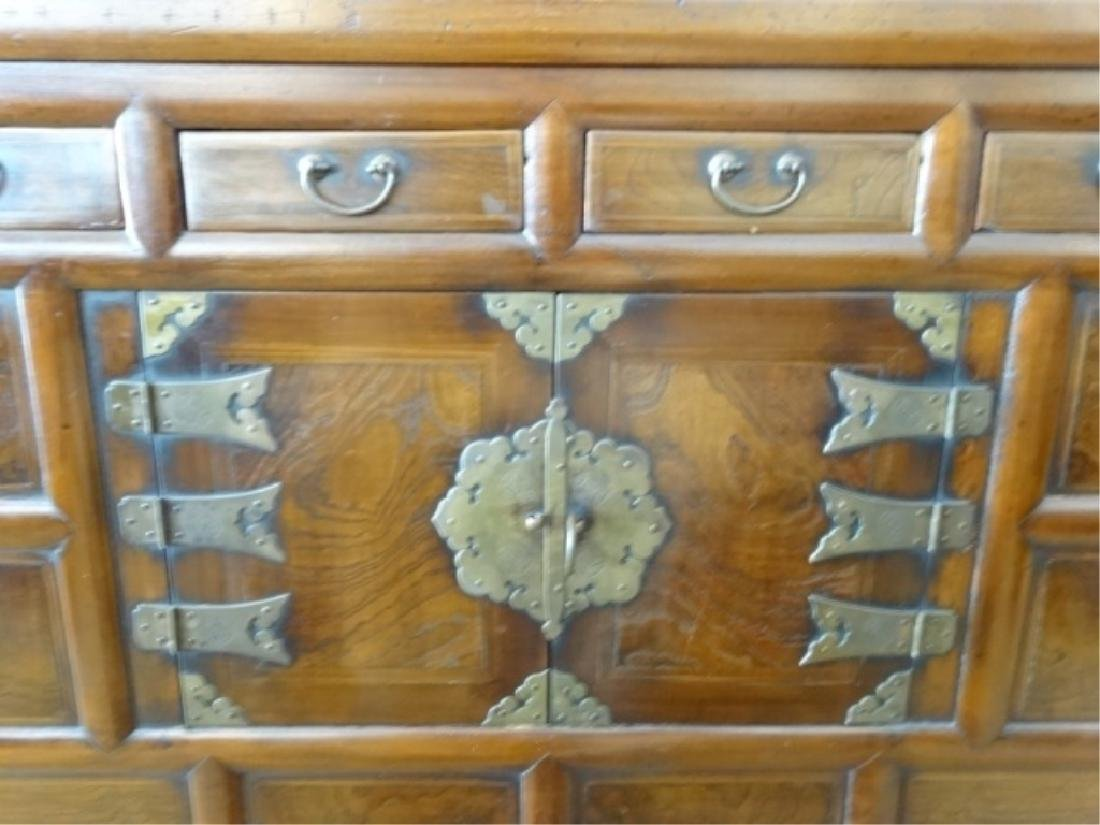 VINTAGE KOREAN WOOD AND METAL CHEST, 4 DRAWERS ABOVE 2 - 3