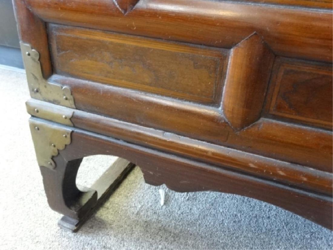 VINTAGE KOREAN WOOD AND METAL CHEST, 4 DRAWERS ABOVE 2 - 4