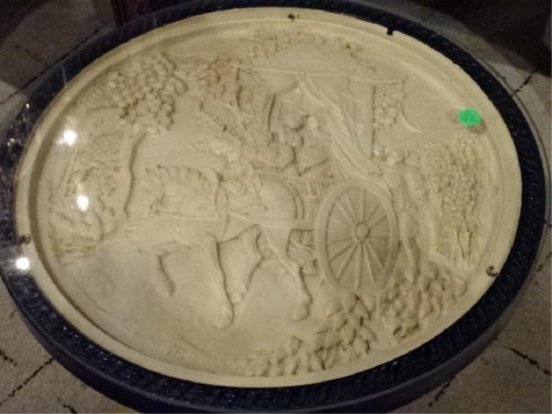 CHINESE FIGURAL TABLE, COMPOSITE WITH ROUND GLASS TOP, - 2