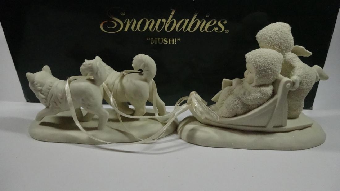 """2 PC SNOWBABIES BISQUE PORCELAIN FIGURINE SET, """"MUSH"""", - 4"""