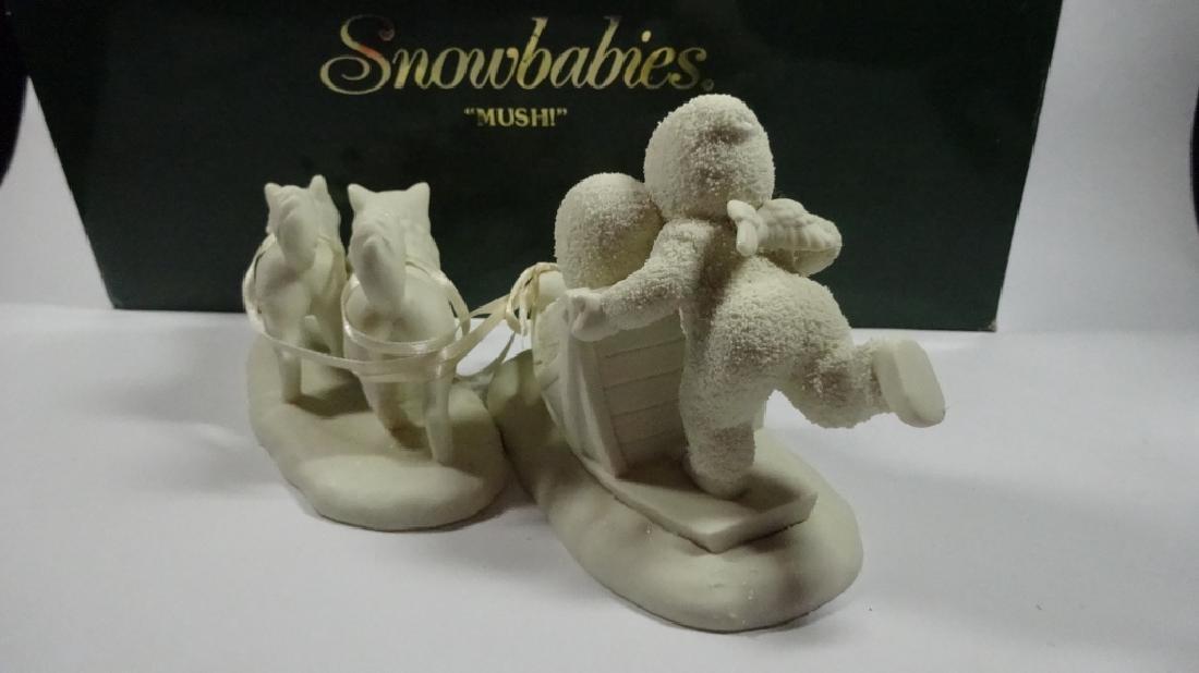 """2 PC SNOWBABIES BISQUE PORCELAIN FIGURINE SET, """"MUSH"""", - 5"""