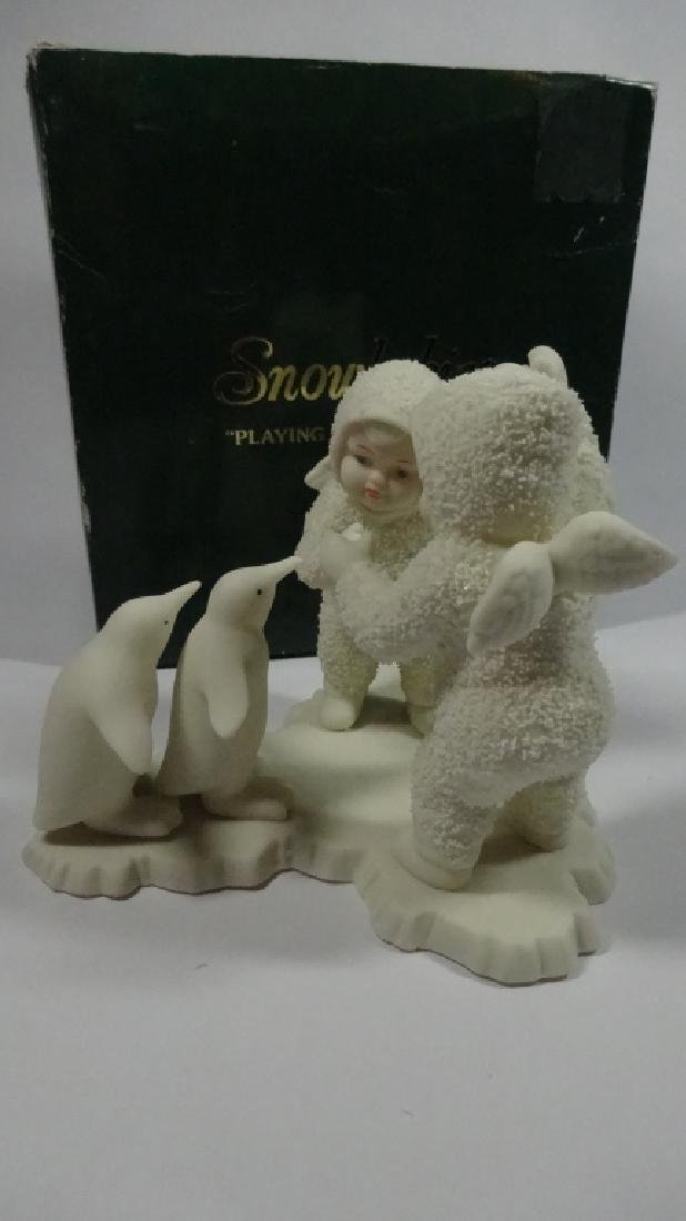 "SNOWBABIES BISQUE PORCELAIN FIGURINE, ""PLAYING GAMES IS - 5"