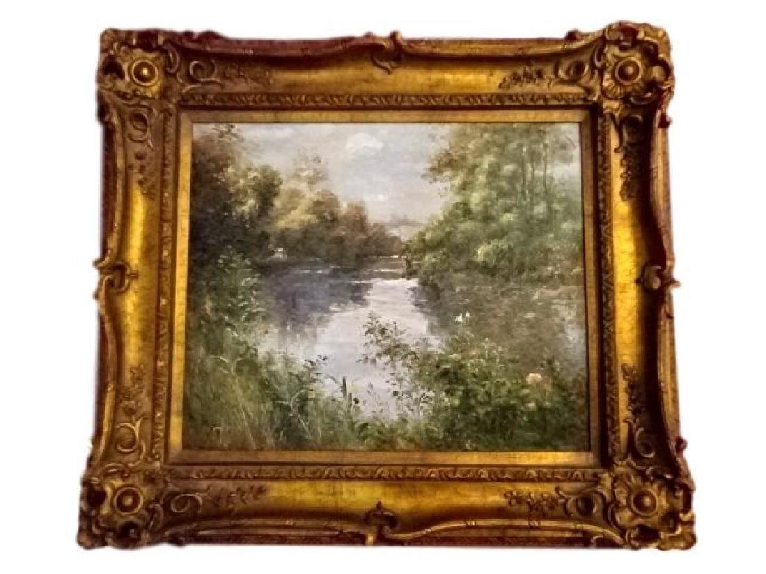OIL PAINTING ON CANVAS, LANDSCAPE WITH RIVER, SIGNED