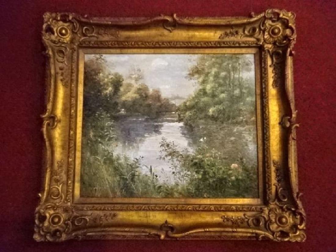 OIL PAINTING ON CANVAS, LANDSCAPE WITH RIVER, SIGNED - 2