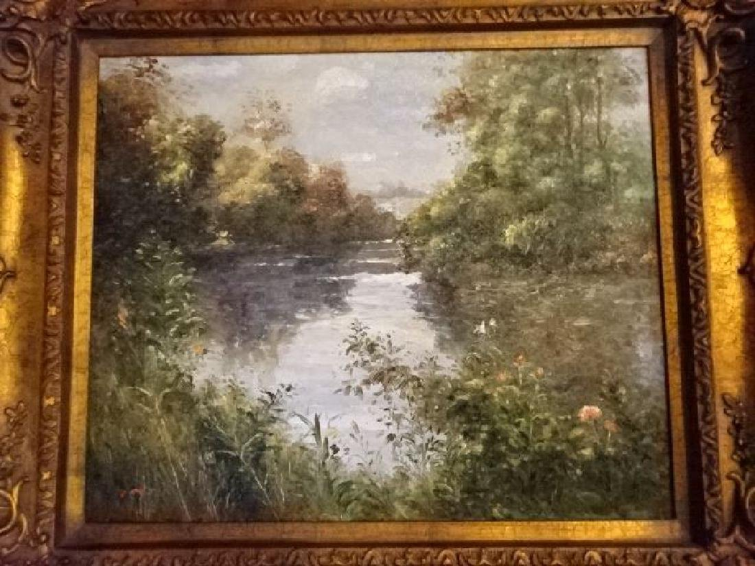 OIL PAINTING ON CANVAS, LANDSCAPE WITH RIVER, SIGNED - 3
