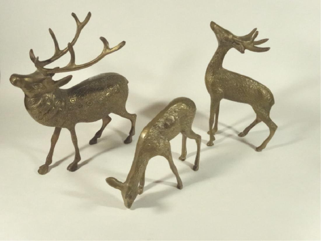 "3 BRASS DEER FIGURES, VERY GOOD CONDITION, 5"" X 5"","