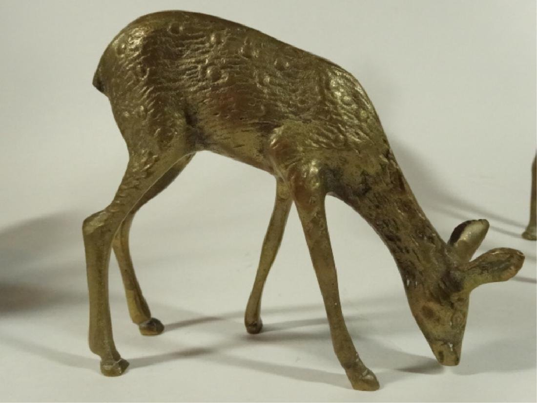 "3 BRASS DEER FIGURES, VERY GOOD CONDITION, 5"" X 5"", - 2"