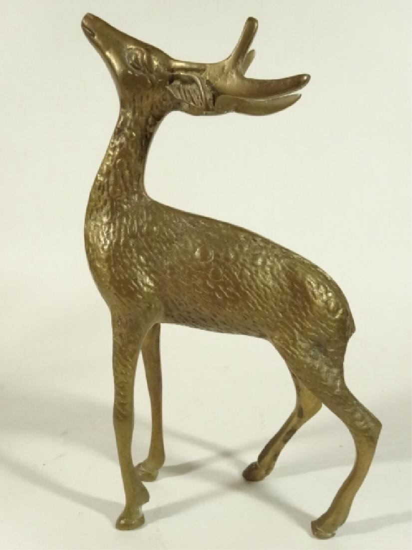 "3 BRASS DEER FIGURES, VERY GOOD CONDITION, 5"" X 5"", - 3"