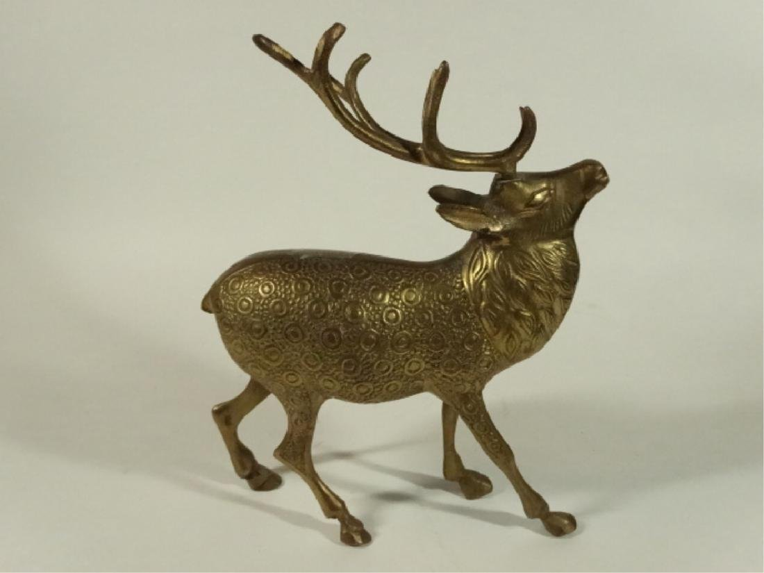 "3 BRASS DEER FIGURES, VERY GOOD CONDITION, 5"" X 5"", - 4"