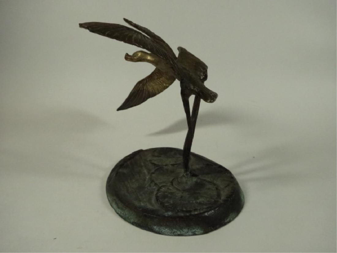 BRASS BIRD SCULPTURE, 2 FLYING GEESE ON ROUND BASE WITH - 2