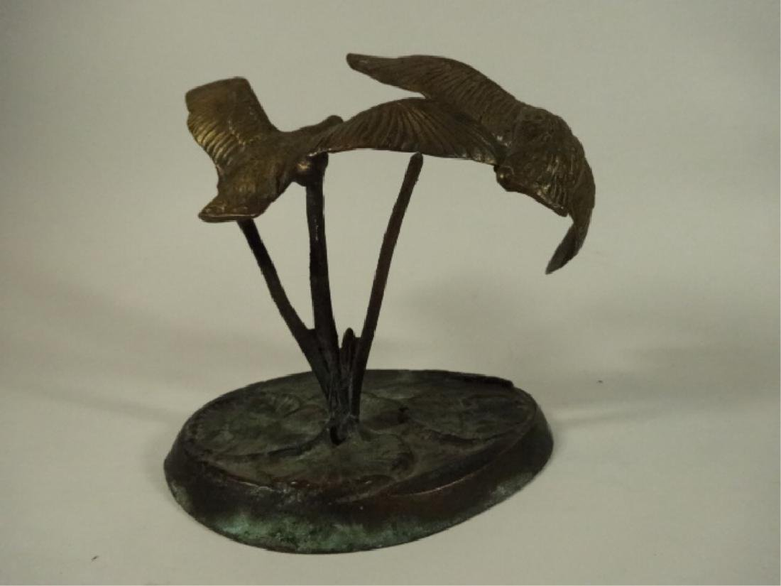 BRASS BIRD SCULPTURE, 2 FLYING GEESE ON ROUND BASE WITH - 3