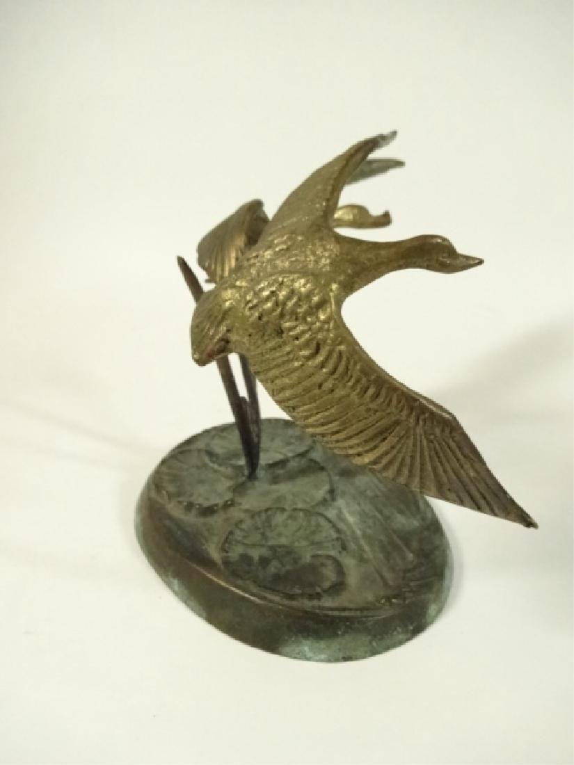 BRASS BIRD SCULPTURE, 2 FLYING GEESE ON ROUND BASE WITH - 4