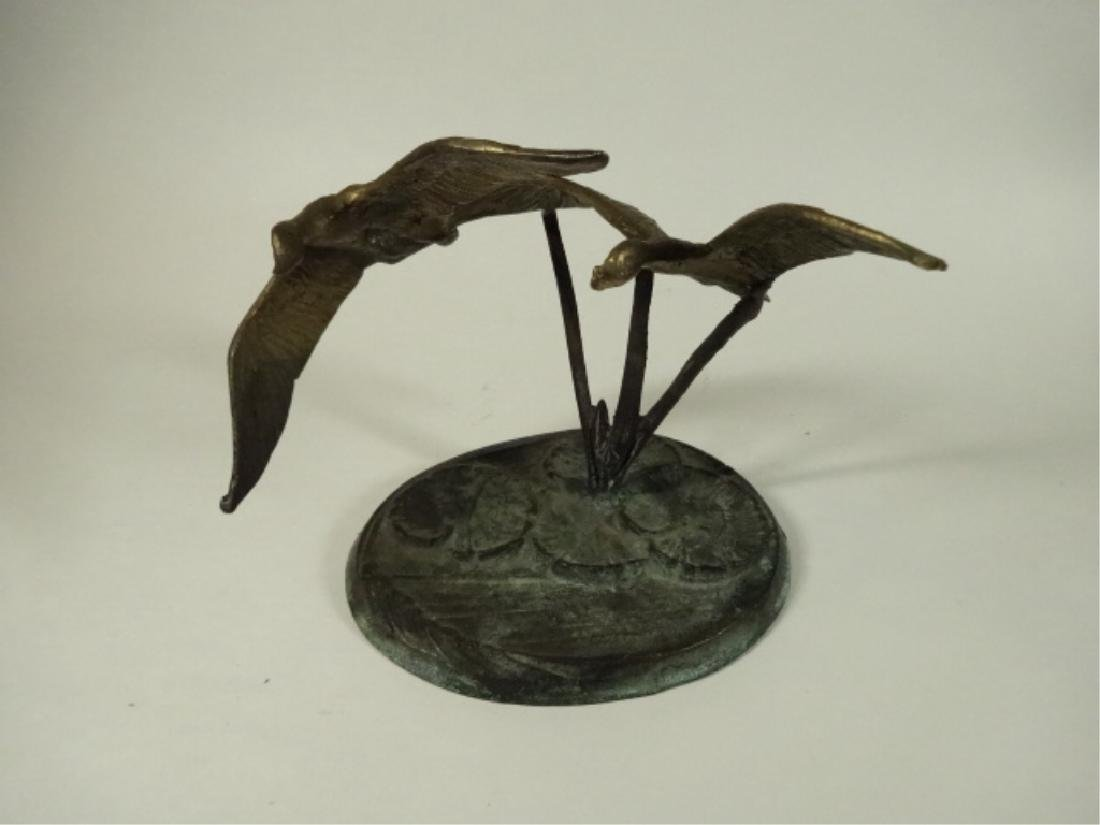 BRASS BIRD SCULPTURE, 2 FLYING GEESE ON ROUND BASE WITH - 5