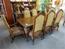 9 PC ANDERSON DAISHI DINING SET, ITALIAN STYLE TABLE