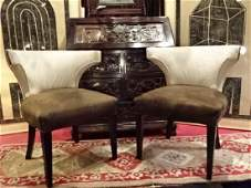 PAIR 1950's CURVED BACK ARMCHAIRS, MID CENTURY MODERN,