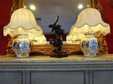 PAIR LARGE ARTEPIU ITALIAN CERAMIC LAMPS, WHITE, GOLD