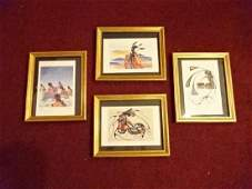 4 CECIL YOUNG FOX PAINTINGS ON PAPER, NATIVE AMERICAN