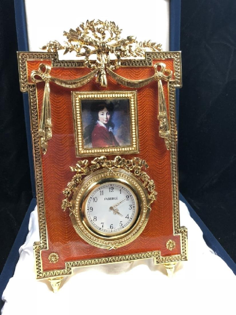 FABERGE CATHERINE THE GREAT CLOCK, BURNT ORANGE FRAME,