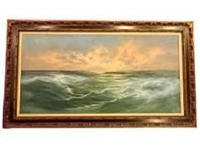 LARGE V. BERK SIGNED OIL ON CANVAS PAINTING, SEASCAPE,