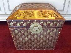 LARGE WOOD AND METAL BOX WITH BRASS CLASP VERY GOOD