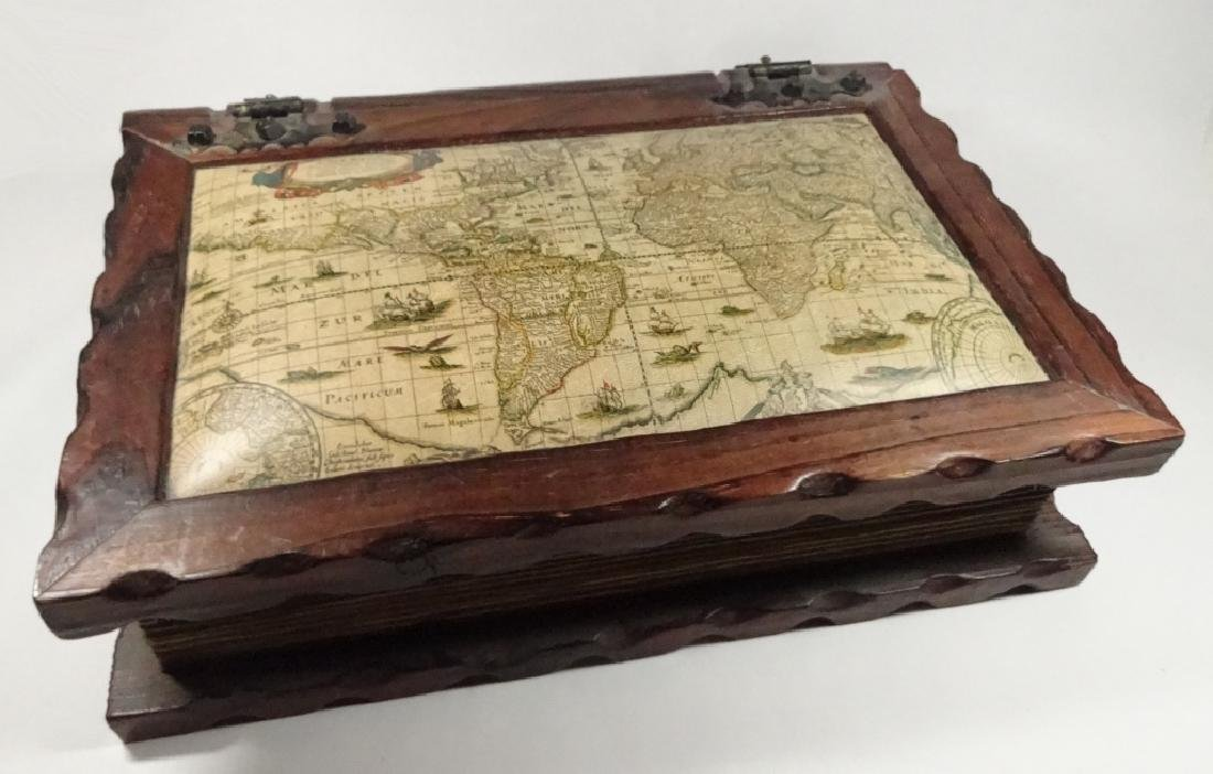 LARGE CARVED WOOD BOX, ANTIQUE STYLE WORLD MAP DESIGN