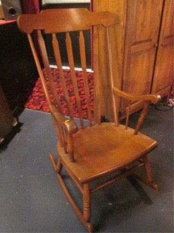 2: #2 OF TWO AVAILABLE MEDIUM FINISH ROCKING CHAIRS (SI