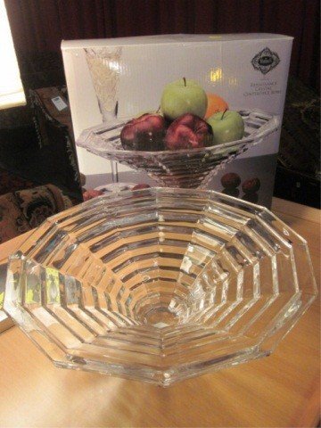 "7: SHANNON LEAD CRYSTAL CENTERPIECE, APPROX 14"" ROUND,"