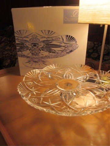 8: LEAD CRYSTAL CAKE PLATE, IN ORIGINAL BOX, APPROX 14""