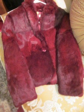 9: RABBIT FUR JACKET, DYED RED, SIZE MEDIUM