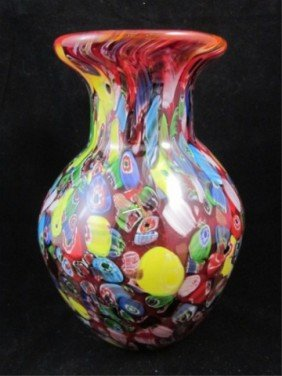 14: MURANO ART GLASS VASE WITH RED BACKGROUND & INTERIO