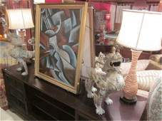 """162: PAIR OF RATTAN WRAPPED TABLE LAMPS, APPROX 25""""TALL"""