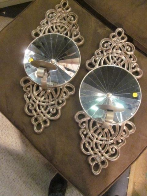 15: PAIR OF ORNATE SILVER FINISH WALL SCONCES WITH CONC