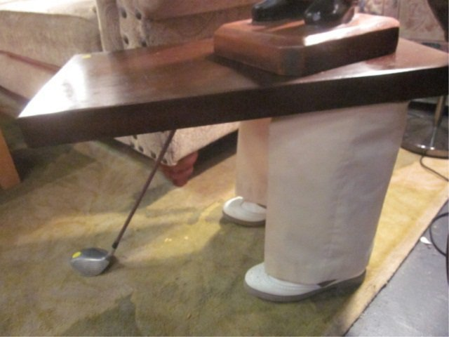 17: WHIMSICAL TABLE WITH GOLFER'S LEGS AND GOLF CLUB -