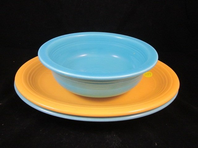 23: TWO VINTAGE FIESTA OVAL PLATTERS CIRCA 1938-1969, A