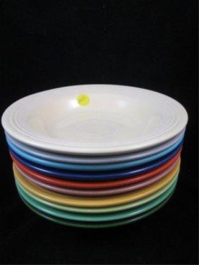 10 VINTAGE FIESTA DEEP PLATES/SOUP BOWLS, CIRCA 193