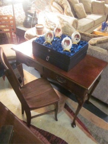 33: 2 PC SET SMALL MAHOGANY WRITING DESK AND CHAIR, DES