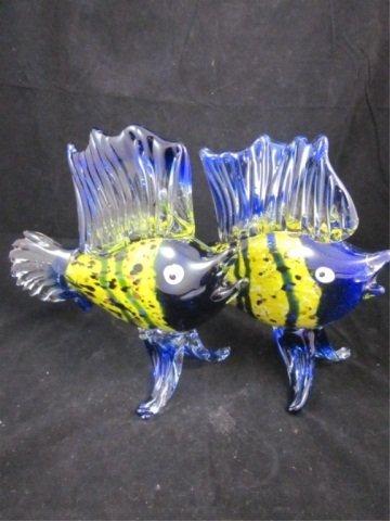 37: TWO MURANO BLUE & YELLOW ART GLASS SAILFISH, SOLD T