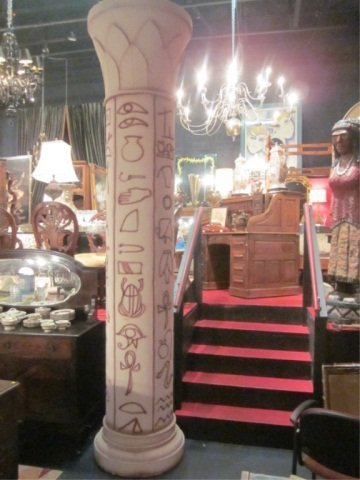 41: HUGE PAIR OF EGYPTIAN STYLE COLUMNS, APPROX 12 FT T