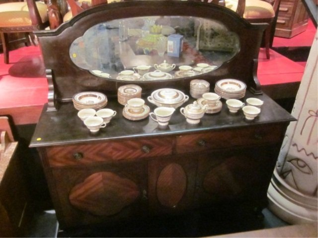 42: ANTIQUE SIDEBOARD WITH OVAL MIRROR, APPROX 6' LONG