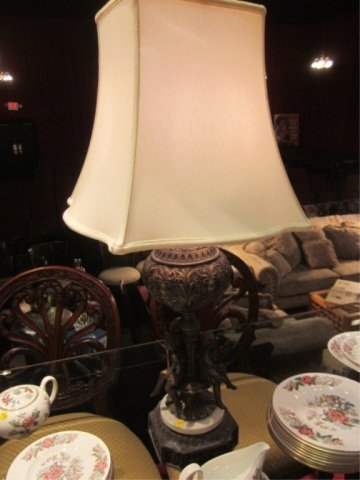 43: FIGURAL CAST METAL TABLE LAMP WITH MARBLE BASE, APP
