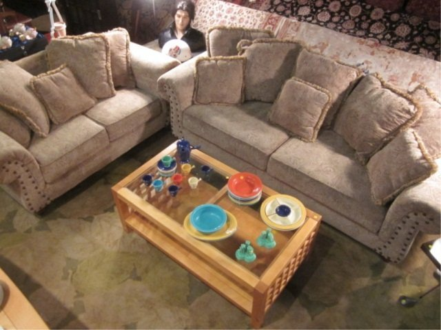45: 2 PC SET LIGHT BEIGE SOFA AND LOVESEAT WITH NAILHEA