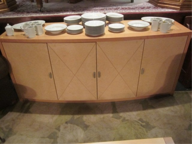 46: MADE IN ITALY LIGHT WOOD CREDENZA WITH NICKEL FINIS