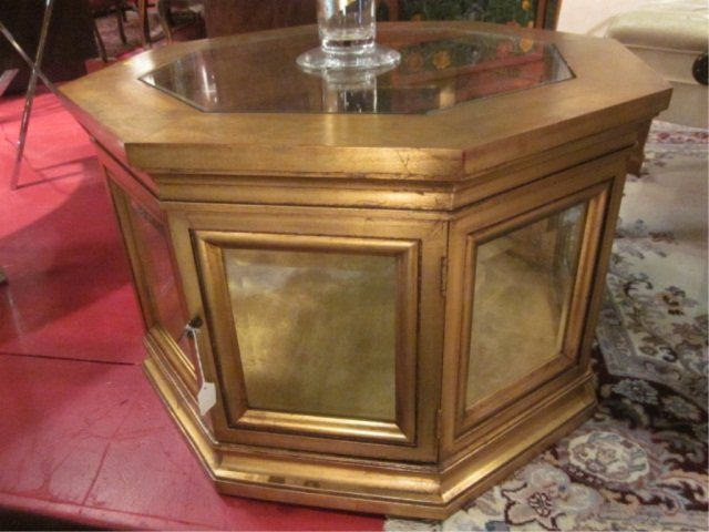 47: PAIR OF OCTAGONAL GOLD GILT DISPLAY TABLES WITH GLA