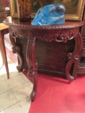 FRENCH STYLE DARK FINISH DEMILUNE CONSOLE TABLE, AP