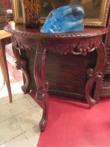 81: FRENCH STYLE DARK FINISH DEMILUNE CONSOLE TABLE, AP