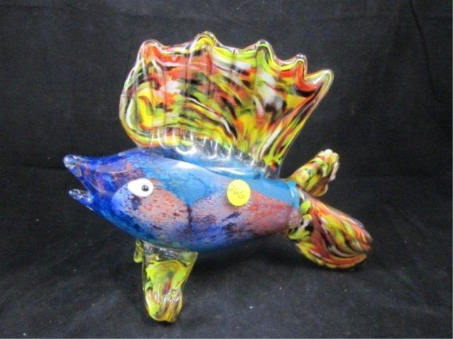 84: MURANO BLUE & YELLOW ART GLASS SAILFISH, BLUE BODY