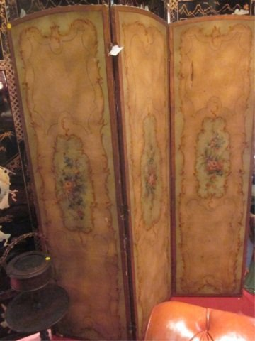 92: ANTIQUE LEATHER 3 PANEL SCREEN WITH ORNATE PAINTED