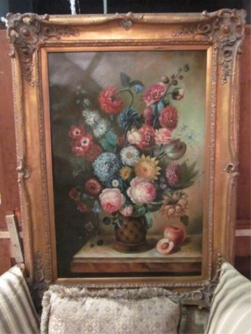 94: HUGE OIL PAINTING ON CANVAS, FLORAL STILL LIFE, SIG